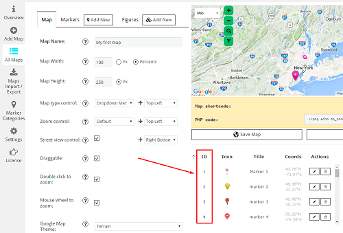 Google maps markers id