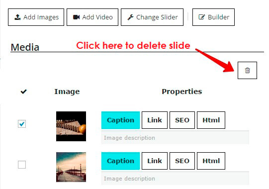 How to delete an existing slide from slideshow? Slideshow Gallery