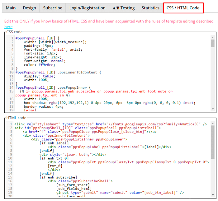 CSS HTML Code tab in WordPress popup plugin