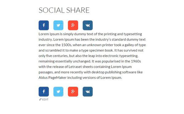 Example Above Content of Social Share Buttons plugin