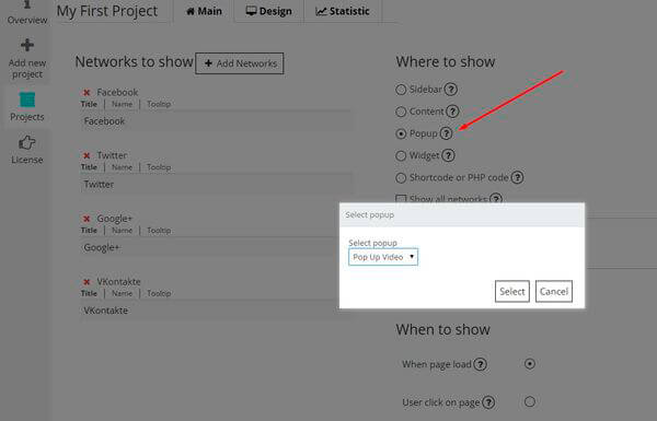 Social Share Buttons by Supsystic in Popup
