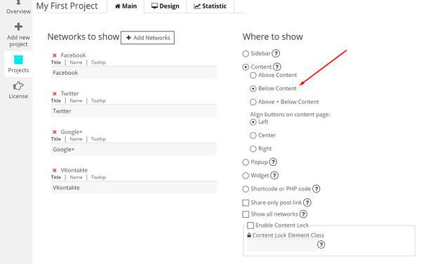 Add new project of Social Share Buttons plugin