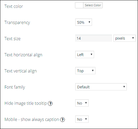 Caption tab in WordPress Photo Gallery plugin