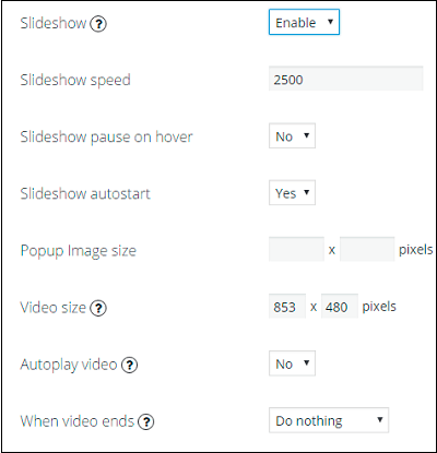Slideshow settings in WordPress Photo Gallery