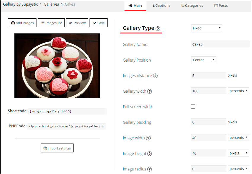 Type Settings in WordPress Photo Gallery
