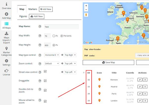 WordPress Google maps marker id
