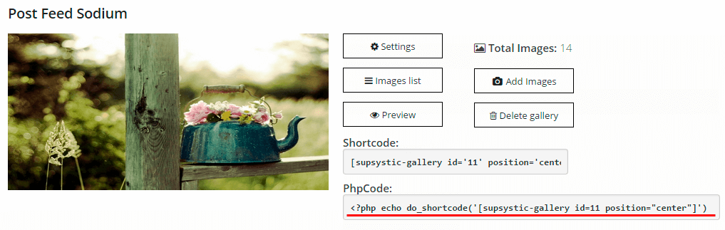 PHP Code WordPress Gallery