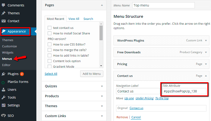 WordPress popup plugin menu title attribute