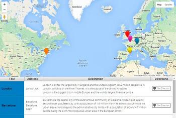 WordPress Google Maps - Table Markers List
