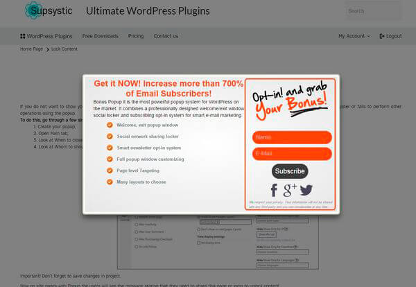 Lock content in WordPress Popup plugin example