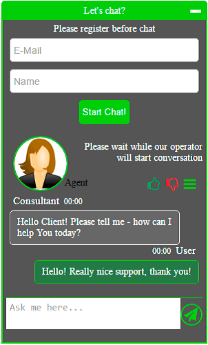 Live Chat plugain - Template example 2