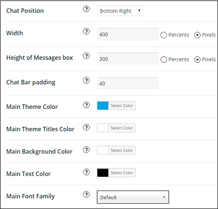 Appearance tab in WordPress Live Chat plugin