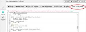 CSS HTML tab in WordPress Live Chat