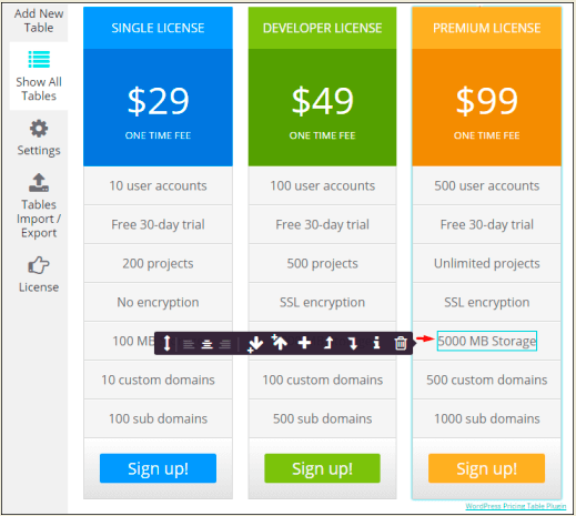 Cells menu in WordPress Pricing Table