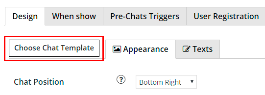 Choose chat template in WordPress Live Chat plugin