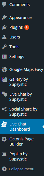 Live Chat Dashboard in WordPress