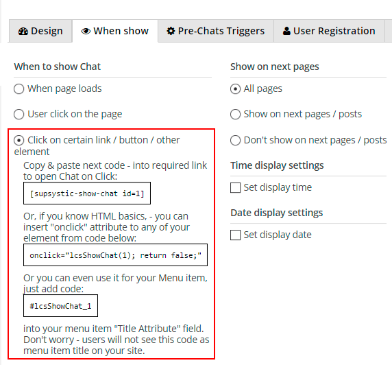When to Show Chat on website