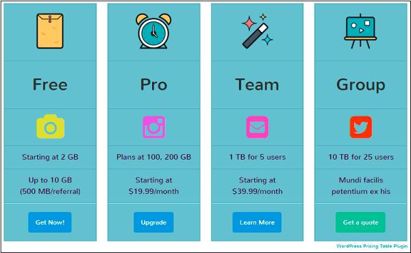 Template of WordPress Pricing table
