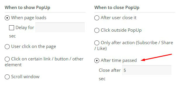 Time passed Popup option