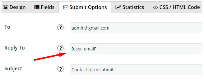 Reply to option in Contact Form