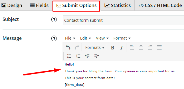 Submit option in Contact Form plugin