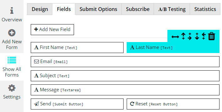 Fields Settings of Contact Form