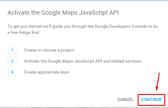 Activate the Google Maps JavaScript API