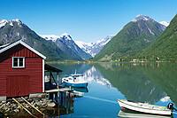 Fjaerland and Fjaerlandsfjorden, Sogndal, Sogn og Fjordane, Norway.