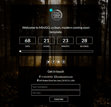 WordPress Coming Soon - MiniGo Template