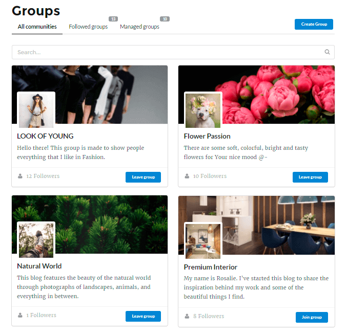 Groups Page