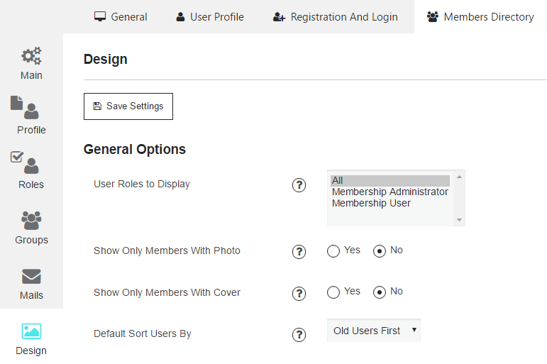 Design Settings of Members Page