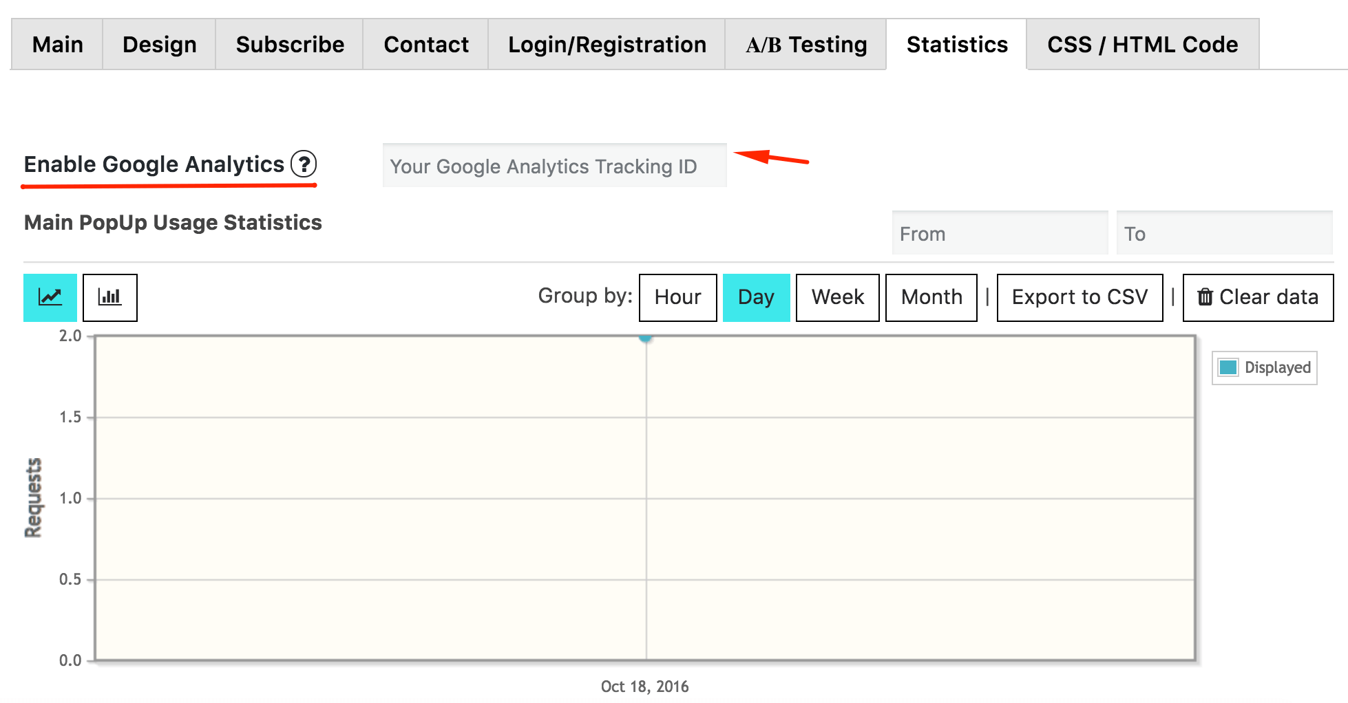 Popup Google Analytics feature