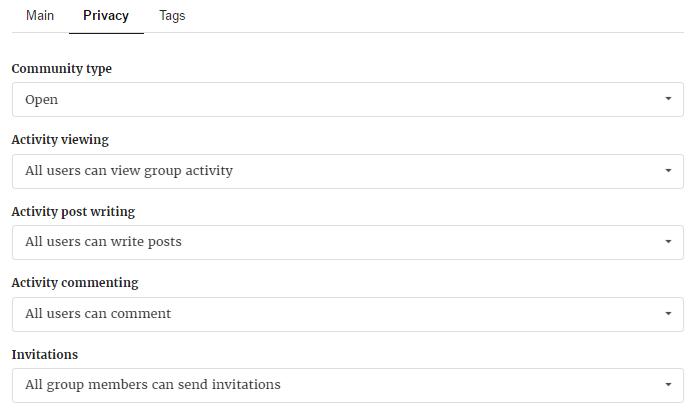 Privacy Settings of Membership Group