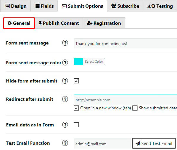 Contact Form General Option
