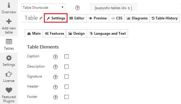 Settings tab in WordPress Data Tables