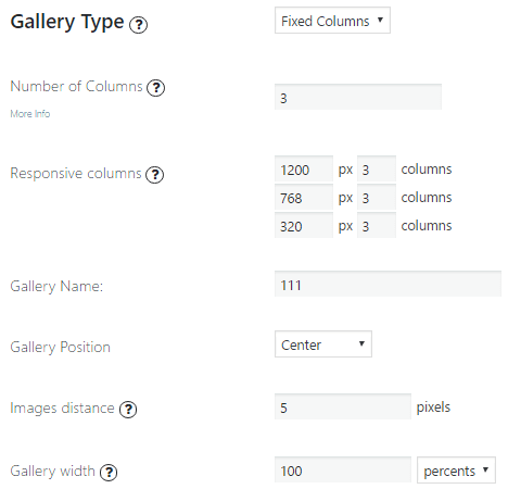 Fixed Columns Gallery Options
