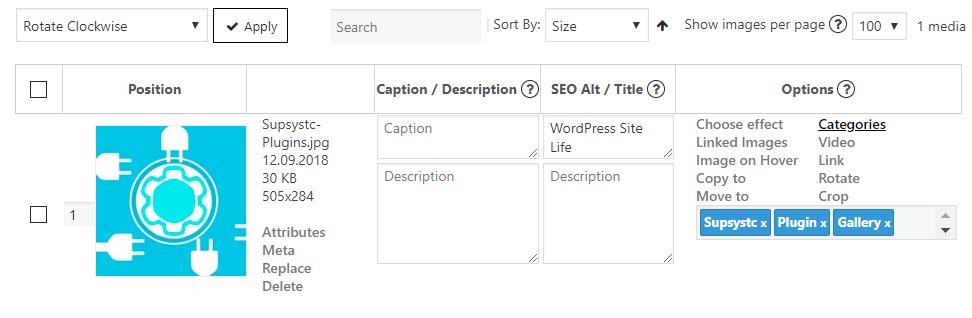 Gallery categories