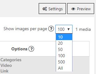 Show images per page
