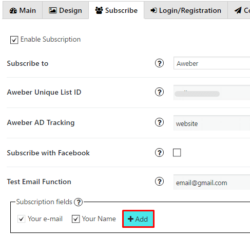 Add custom field Aweber