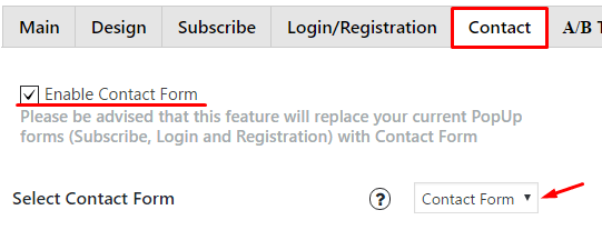 How it insert Contact Form in Popup plugin
