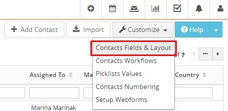Customize contacts Vtiger