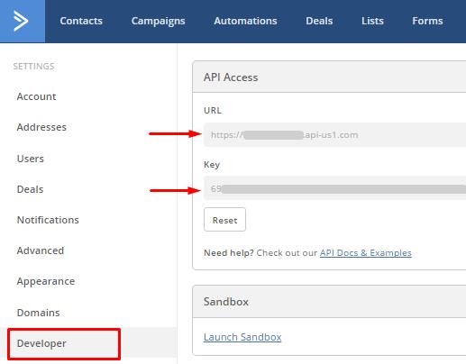 Find API URL and API key here