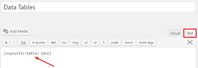 Insert the shortcode in the text editor