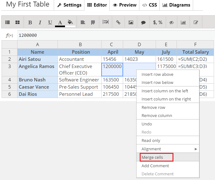 How to Merge the Cells in Data Table?