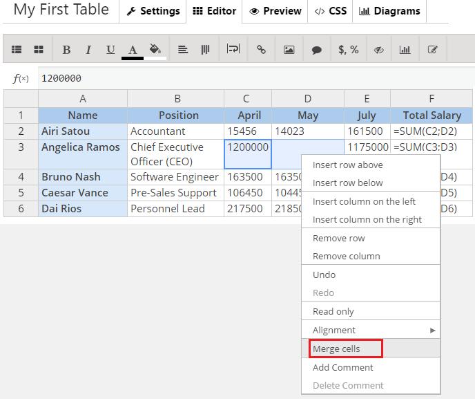 Merging Cells Button WordPress Data Table Generator