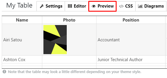 Preview tab in WordPress Data Tables