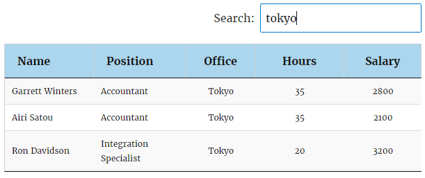 Example of search result in Data Tables