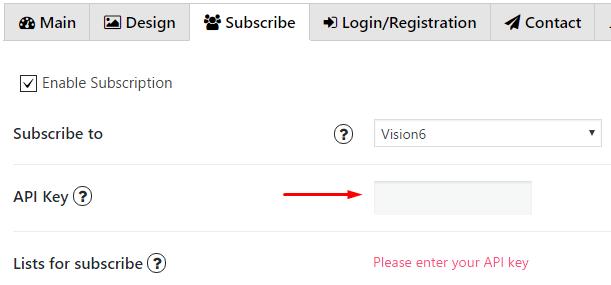 Enter API key Vision6
