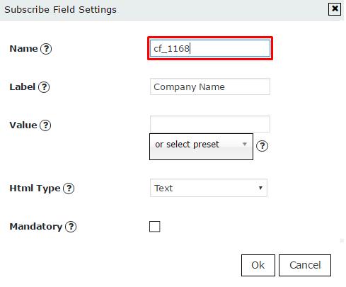 New custom field settings