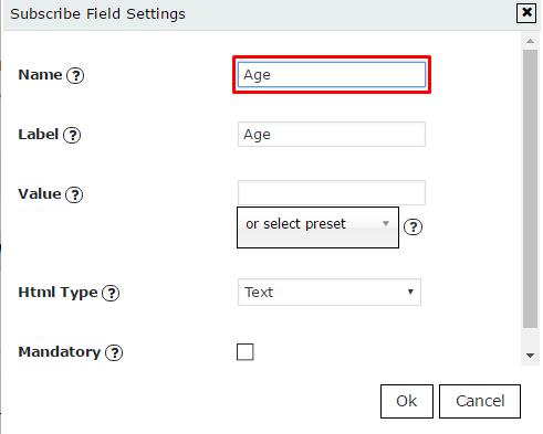 Insert field name